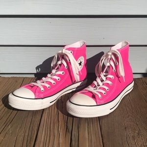 Hot pink high-top Converse Chuck Taylor M-7 W-9